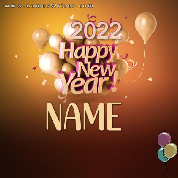 happy new year NAME with Balloon