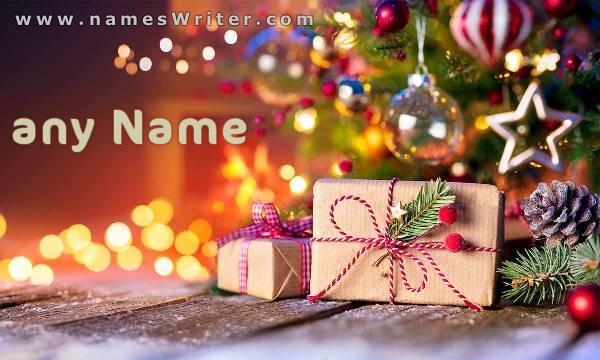 تهنئة بالسنة الميلادية الجديدة مع زينة الكريسماس